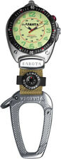 Dakota Big Face Silver Survival Pack Clip Watch & Green Fob w/ Compass 8853