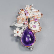 Unique Jewelry Design Amethyst Brooch Silver 925 Sterling  /APBJ-NB0010