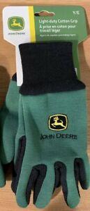 KIDS WORK GLOVES 1 Pair John Deere Cotton Grip Gloves Work Gardening Youth Size