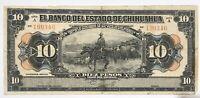Mexico 10 Diez Pesos El Banco Del Estado De Chihuahua Banknote Dec 12, 1913