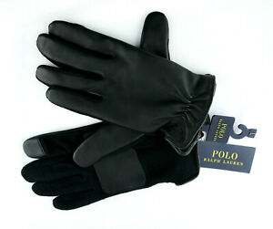 🧤NEW POLO RALPH LAUREN Men's Gloves Black-Leather/Wool-Touch Screen Large