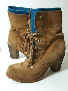UGG Lace Up Boots Teal Wheat Zip Wool Combat Heel Boot Women's Size 9