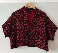 Karin Glasmacher Collection Size 3 Red Woollen Jacket Cosy vintage 16-18 Bolero
