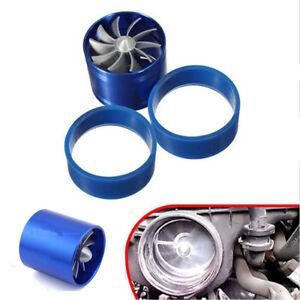 Aluminum Alloy Car Air Intake Turbonator Double Fan Turbine Turbo Gas Fuel Saver