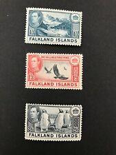 Stamps Falkland Islands George VI 1/-, 1/3 & 2/6 Mounted Mint