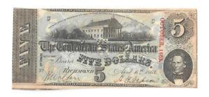 1863 Confederate States of America $5 Banknote, C/C