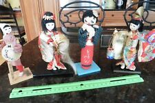Doll Lot of 4 Vintage Japanese Geisha Hand-Made Wood base Kimono Cloth Porcelain