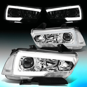FOR 2011-2014 DODGE CHARGER PAIR LED DRL PROJECTOR HEADLIGHT LAMPS CHROME/CLEAR