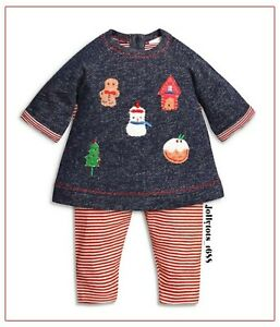 Baby Girls 1st Christmas Outfit Navy Top & Striped Legging Xmas Set 3-9 Mths NEW