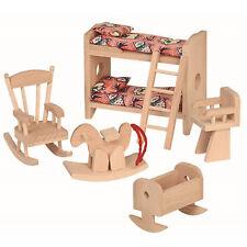 meubles pour maison de poupée chambre d'enfants en bois 5-teilig berceau,