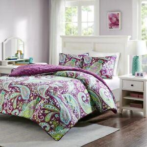 Chic Purple & Yellow Paisley Print Reversible Comforter AND Decorative Shams