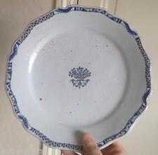 Beau petit plat ou assiette faience XVIIIeme décor Rouen bouquet