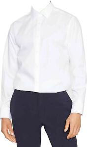 Debenhams Mens White Shirt Long Sleeve Plain Button Up Formal Classic Busines