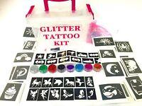 Boys Girls GLITTER TATTOO KIT 90 large 24 mini stencils OR REFILL items