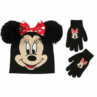 Disney Minnie Mouse Hat and Gloves Cold Weather Set, Little Girls, Age 4-7