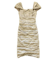 Nicole Miller Size 2 Bodycon Dress Ruched Metallic Bronze Stretches Cap Sleeve