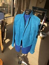 AKRIS Deep Turquoise Open Kit Woven Blazer size 10 US/42 France WORN ONCE
