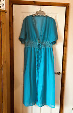 "NEW LADIES MAXI LACE BEACH SWIM TURQUOISE BLUE COVERUP 3XL 36-38""W BNWOT KIMONO"