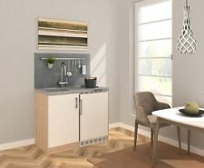 Mini Cucina Cucina Cucinino Blocco Cucina 100 CM Rovere Ruvido-Segato Bianco