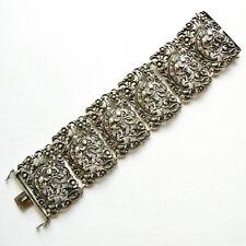 """Dragon Bracelet 835 European Silver Filigree 6 Link 75g 2"""" Wide Vintage Antique"""