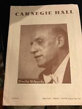 "PROGRAM CARNEGIE HALL COVER  DIMITRI MITROPOULOS  ""1955"""