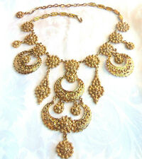 VINTAGE DECO OUTSTANDING GOLD PLATED LONG ORNATE DANGLE NECKLACE  ESTATE heavy