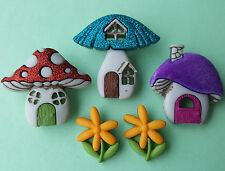 Dress It up Buttons Shroom With a View 3 Mushroom Houses Cute Colourful