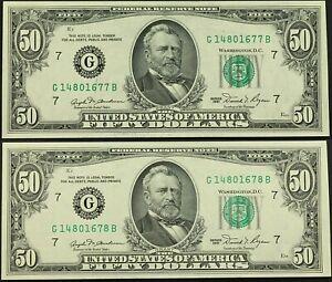 Sequential  $50.00 DOLLAR BILLS MINT CONDITION 1981 Lot 0f (2) item 608  Vintage