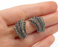 JUDITH JACK 925 Silver - Vintage Marcasite Decorated Non Pierce Earrings - E8702