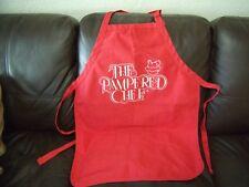 Vtg Red White Logo Pampered Chef Adult Full Bib Apron Adjustable Ties Pockets