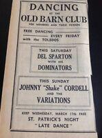 F9-1 Ephemera 1965 Advert Cornwall Old Barn Johnny Shake Cordell Del Sparton