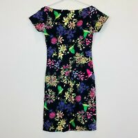 Ezra Womens Black Floral Short Sleeve Dress with Back Zipper Size M