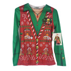 Faux Real Womens T-Shirt Sz S Sm Ugly Christmas Sweater Vest Look Long Sleeve
