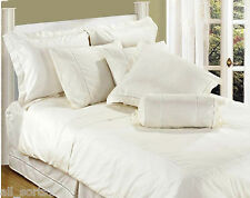 DOUBLE BED FITTED SHEET WHITE LUXURY 100% COTTON 330 THREAD COUNT STRIPE SATEEN