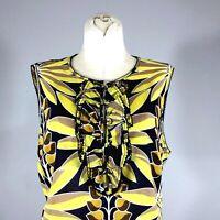 Tory Burch Sleeveless Floral Print Top Size 12 Women Cotton Batiste Blouse