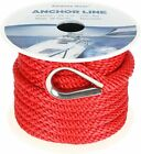 38 Inch 50ft Premium Solid Braid Mfp Boat Anchor Ropeline With Thimble Red