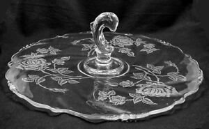 Heisey ROSE etched Center Handle Plate w/ Dolphin Figurine- 14 1/2 inches