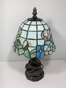 Tiffany Style Stained Glass Small Accent Table Lamp/Nightlight 14 in
