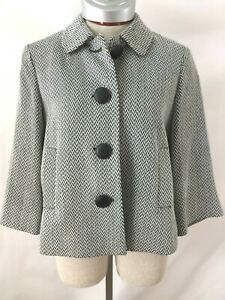 New York & Company Blazer Size M 3/4 sleeve Black White chevron big button Co