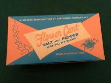 Nos Vintage Metal Flower Cart Glass Salt & Pepper Shakers Original Box & Pckgng