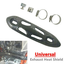 Motorcycle Exhaust Muffler Pipe Carbon Fiber Heat Shield Cover w/Mounting Parts