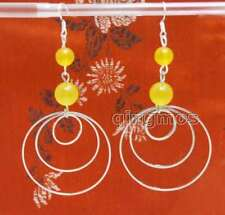 Sale Fashion Yellow 8-10mm Natural Jade & 3 piece metal Ring 3.5'' Earring-e618