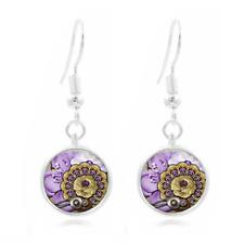 Jewel Steampunk Tibet Silver Dome Photo 16MM Glass Cabochon Long Earrings #273