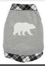 Top Paw Apparel for Dogs Gray Sweater Coat Size Medium Plaid Bear