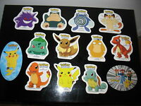 13 NEW Pokemon stickers 1999  lot Gengar  Snorlax Bulbasaur Ash Squirtle Psyduck