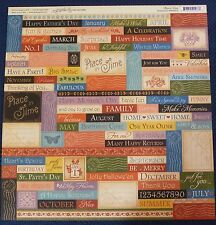 Graphic 45 Place In Time Phrases and Tags 12 x 12 Scrapbook Paper -2 Sheets