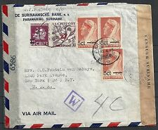 Surinam 1945 cens R-Airmail Bankcover to New York