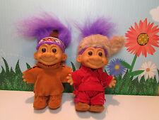 "Daniel Boone & His Indian Scout - 5"" Russ Troll Dolls - New In Bags -Purple Hair"