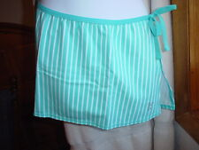 Playboy Swim Sarong Small Aqua Blue Stripe NWT