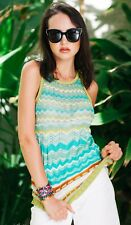 Missoni Knitted Zigzag Top Green Yellow Sz XS/S Made In Italy